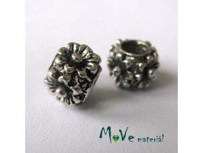 Korálek kovový květy, 1 kus, starostříbro