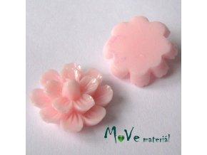 Kabošon květ lesklý F3 - resin - 2ks, sv. růžový