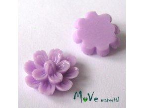 Kabošon květ lesklý F3 - resin - 2ks, fialový