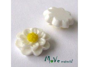 Kabošon květ lesklý F1 - resin - 2ks, bílý