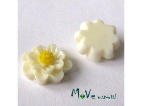 Kabošon květ lesklý F1 - resin - 2ks, vanilkový