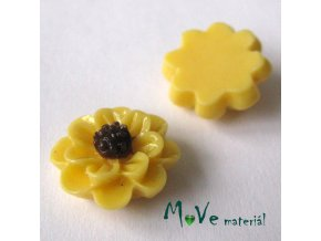 Kabošon květ lesklý F1 - resin - 2ks, sv. žlutý