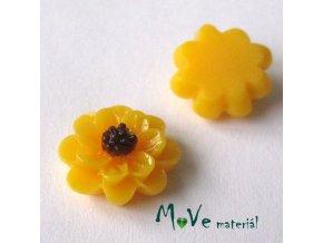 Kabošon květ lesklý F1 - resin - 2ks, tm. žlutý
