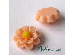 Kabošon květ lesklý F1 - resin - 2ks, broskvový