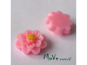Kabošon květ lesklý F1 - resin - 2ks, stř. růžový