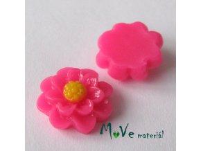 Kabošon květ lesklý F1 - resin - 2ks, tm. růžový