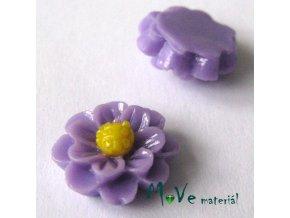 Kabošon květ lesklý F1 - resin - 2ks, fialový