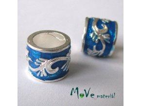 Korálek kovový široký průvlek, 1 kus, modrý