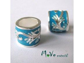 Korálek kovový široký průvlek, 1 kus, tyrkysový