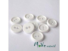 Knoflík košilový - plast 11mm, 10ks, bílý