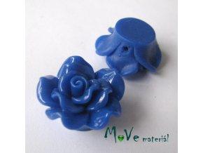 Resinový korálek KVĚT, 1ks, tm. modrý