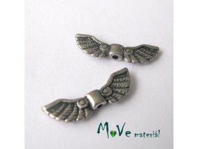 Mezikus kovový 7x21,5mm křídla, 2ks, starostříbrná
