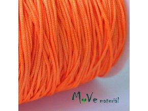 Nylonová pletená šňůra - 1mm/3m, neon. oranžová