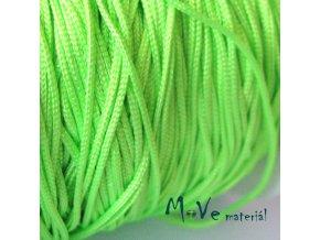 Nylonová pletená šňůra - 1mm/3m, neon. zelená