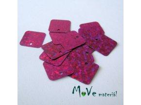 Flitry hladké holograf. 12,5x12,5mm, 16ks, růžové