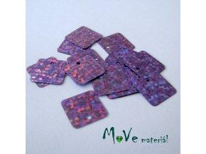 Flitry hladké holograf. 12,5x12,5mm, 16ks, fialové