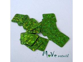 Flitry hladké holograf. 12,5x12,5mm, 16ks, světle zelené