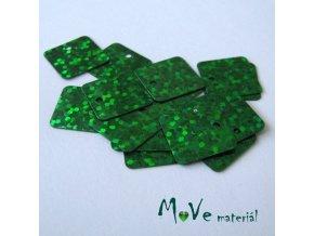 Flitry hladké holograf. 12,5x12,5mm, 16ks, tmavě zelené