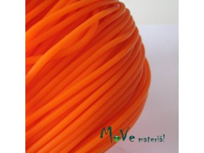 Pryžová šňůra 3mm/1m, oranžová - dutá