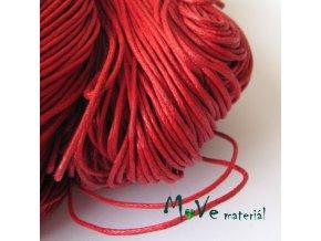 Šňůra voskovaná bavlněná 1mm, 3m, tm. červená