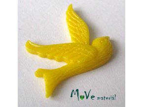 Kabošon ptáček - resin - 1ks, tm. žlutý