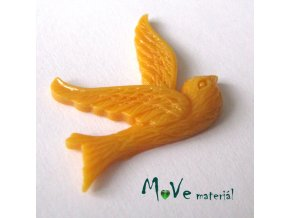 Kabošon ptáček - resin - 1ks, hořčicový