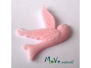 Kabošon ptáček - resin - 1ks, sv. růžový