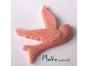 Kabošon ptáček - resin - 1ks, starorůžový I.