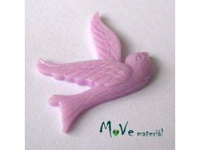 Kabošon ptáček - resin - 1ks, lila