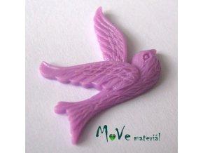 Kabošon ptáček - resin - 1ks, fialový