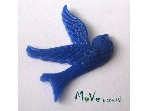 Kabošon ptáček - resin - 1ks, tm. modrý