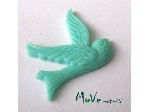 Kabošon ptáček - resin - 1ks, mátový