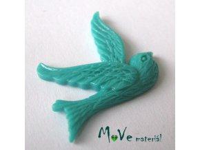Kabošon ptáček - resin - 1ks, brčálový