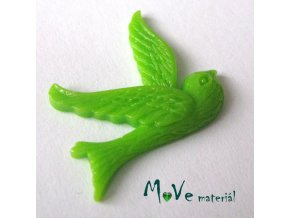 Kabošon ptáček - resin - 1ks, zelený