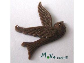Kabošon ptáček - resin - 1ks, hnědý