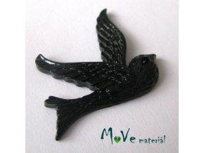 Kabošon ptáček - resin - 1ks, černý