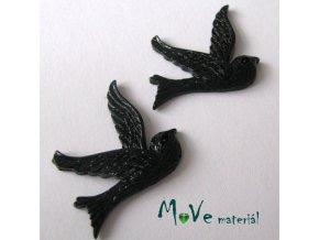 Kabošon ptáček - resin - 2ks, černý