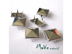 Cvočky na oblečení 12x12mm pyramida, 6ks, stříbrná