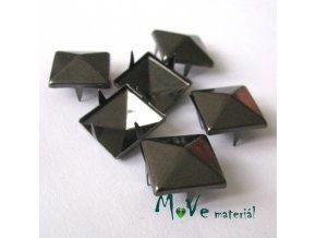 Cvočky na oblečení 12x12mm pyramida, 6ks, antracit