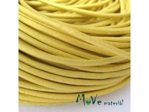 Kulatá přírodní kůže 2mm/1m, sytě žlutá