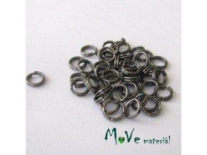 Dvojitý kroužek průměr 4mm, 3g/cca 50ks, antracit