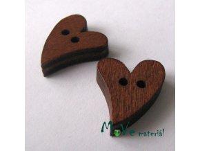 Knoflík dřevěný srdíčko 20x16x2mm, 2ks