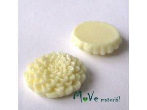 Kabošon květ lesklý D8 - resin - 1ks, vanilkový