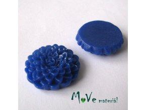 Kabošon květ lesklý D8 - resin - 1ks, tm. modrý
