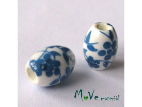 Korálek porcelánový olivka 8x11mm, 2ks, modrá