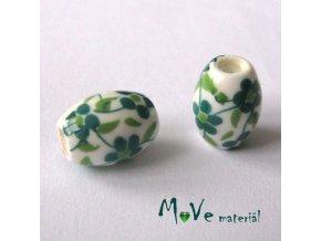 Korálek porcelánový olivka 8x11mm, 2ks, zelený