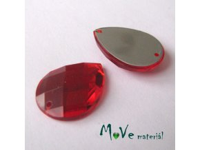 Plastový našívací kámen 15x21mm, 1ks, červený