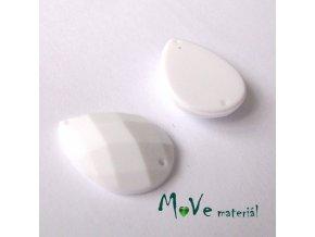 Plastový našívací kámen 15x21mm, 1ks, bílý