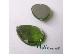 Plastový našívací kámen 15x21mm, 1ks, olivový
