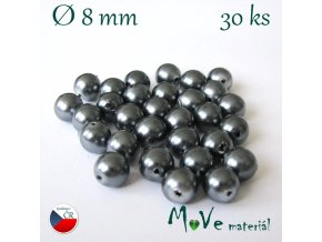 České voskové perle 8mm/30ks, šedé